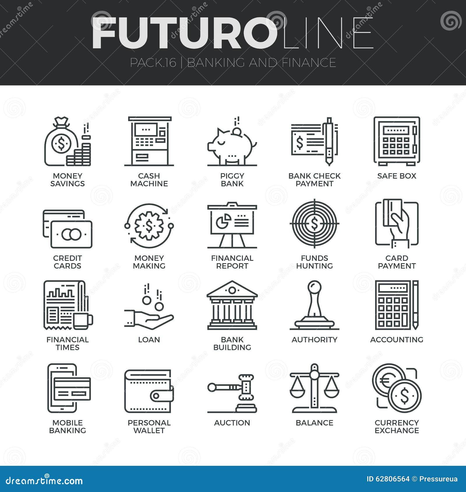Finanzas y actividad bancaria de la línea iconos de Futuro fijados