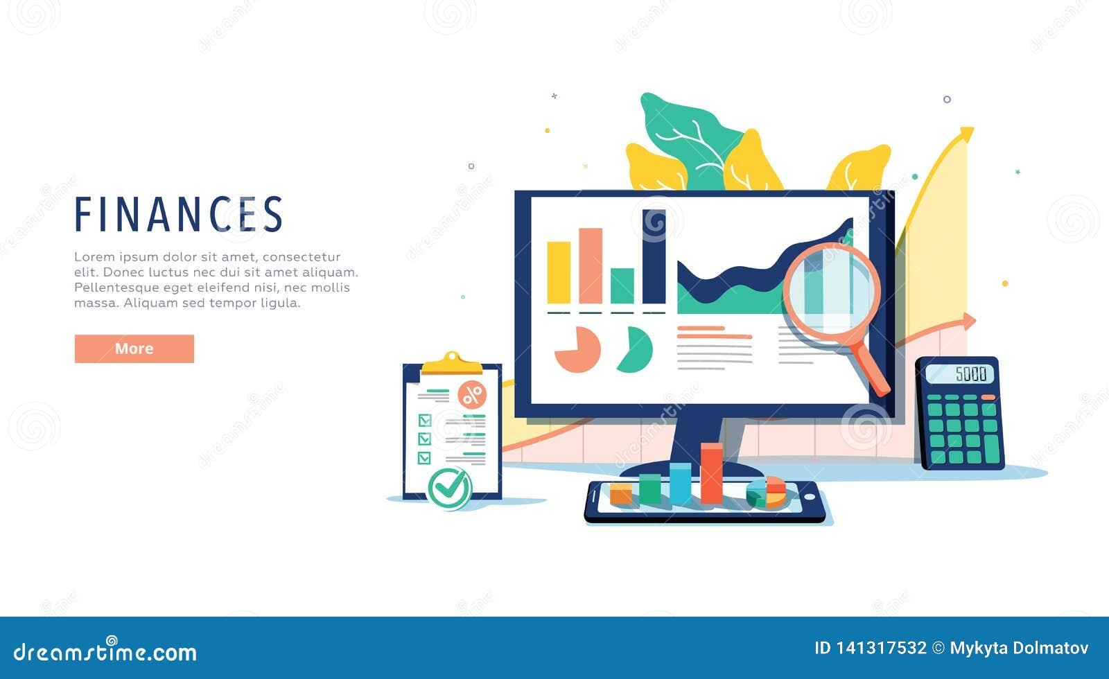 Finanzas y concepto móvil innovador de la tecnología Vector de apps financieros y de servicios en el ordenador portátil y moderno
