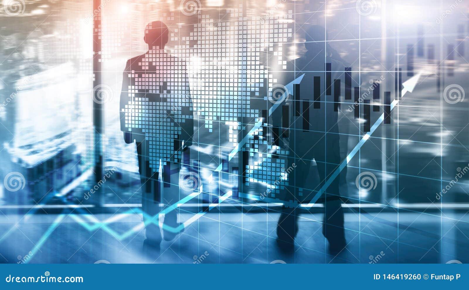 Finanziellb?rse stellt Kerzen-Diagramm-ROI Return On Investment Business-Konzept grafisch dar