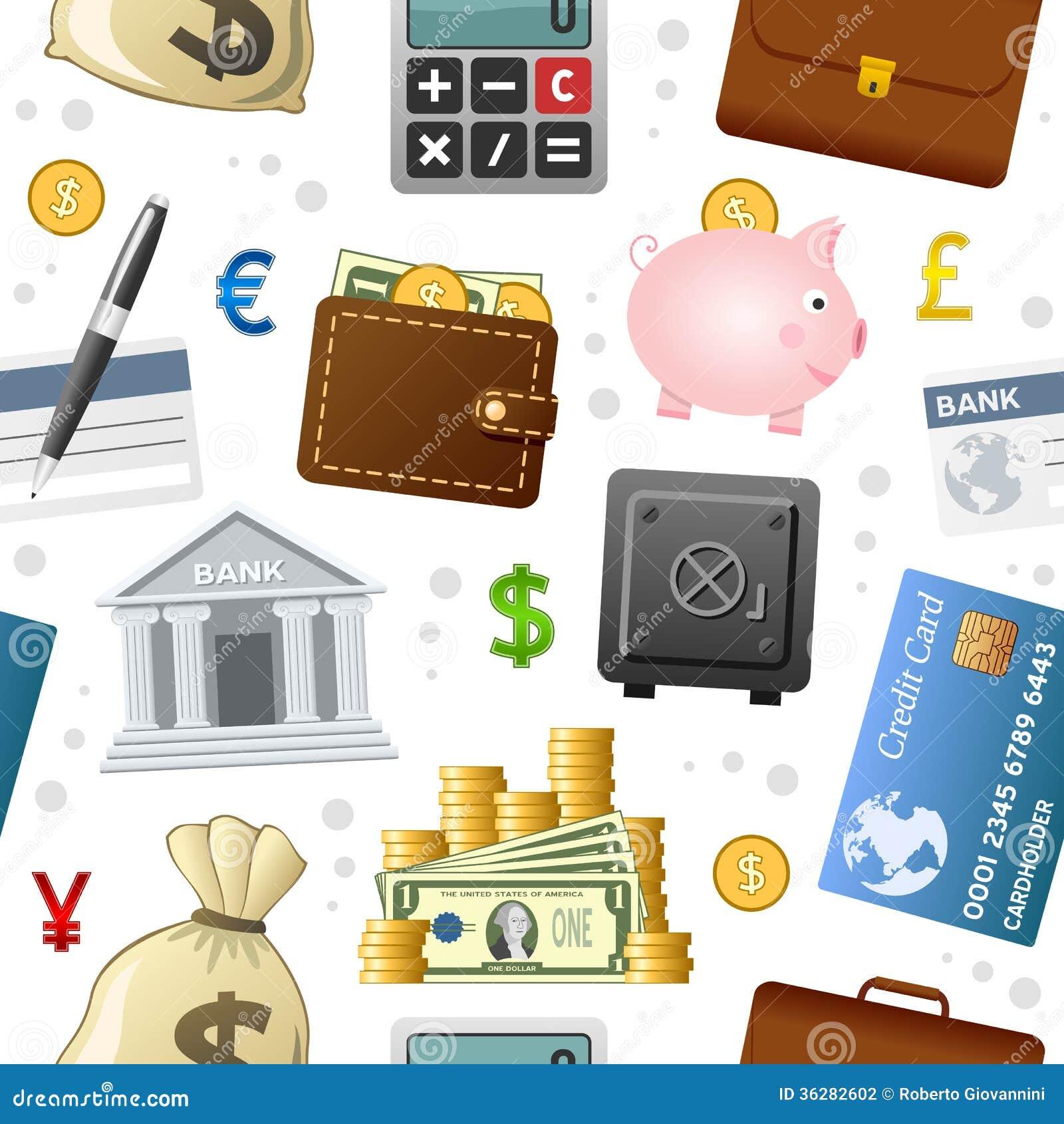 Finanzikonen-nahtloses Muster