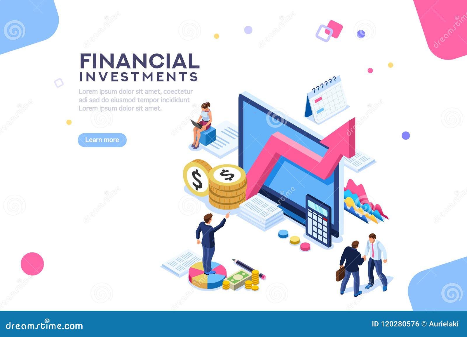Finanzwert-Management flaches isometrisches Infographic