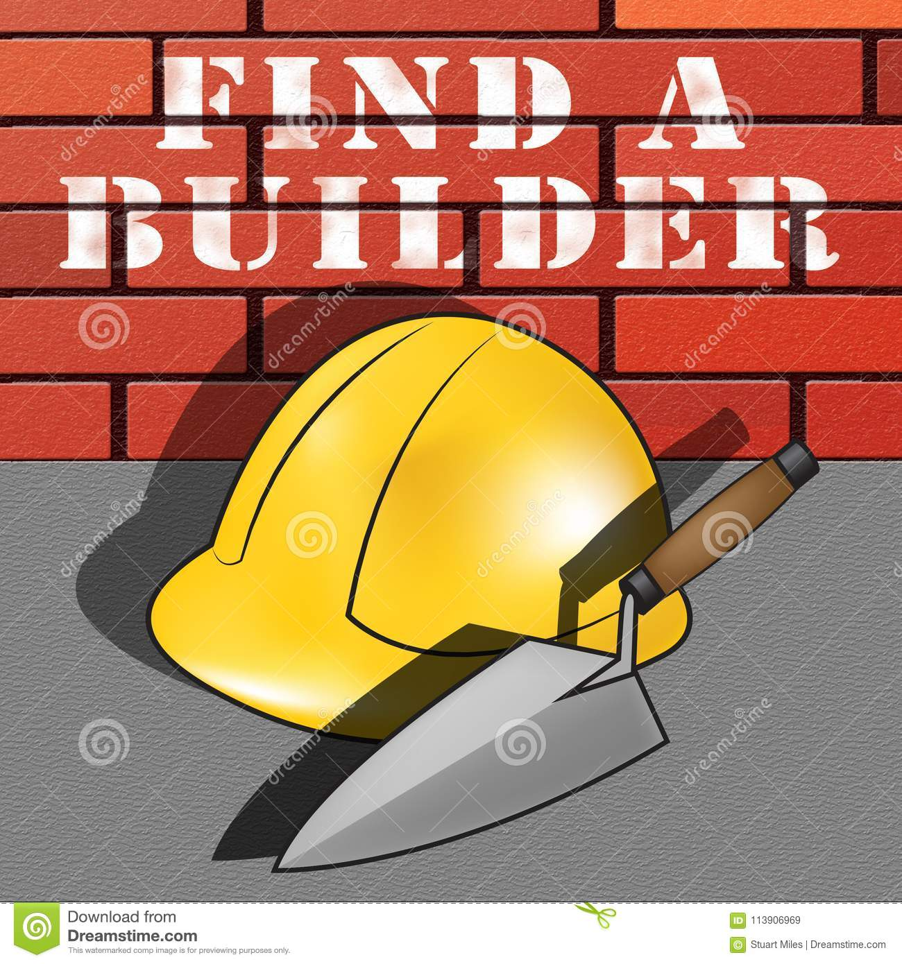 Find A Contractor >> Find A Builder Represents Contractor Search 3d Illustration Stock