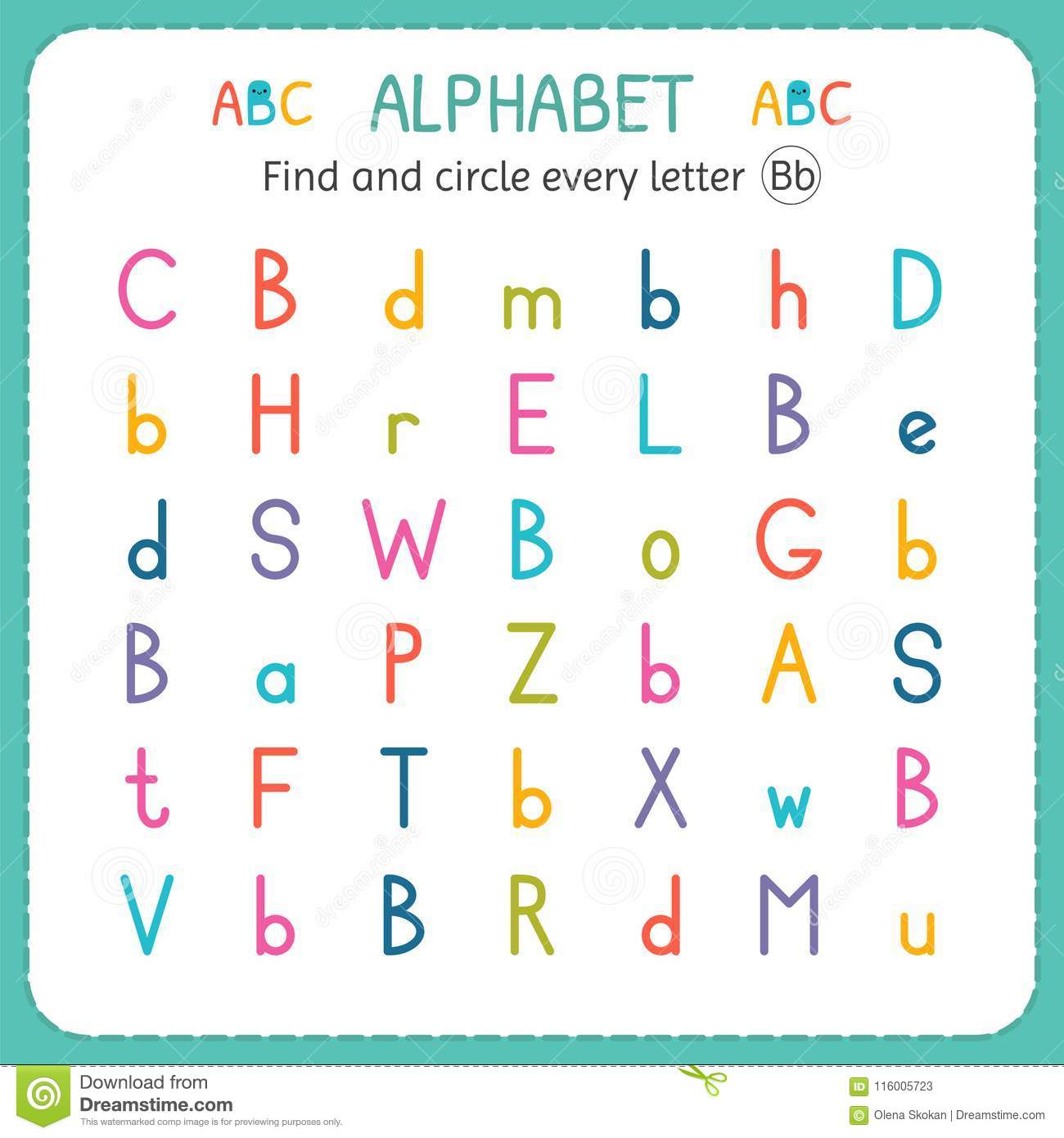 find and circle every letter b worksheet for kindergarten and  find and circle every letter b worksheet for kindergarten and preschool  exercises for children