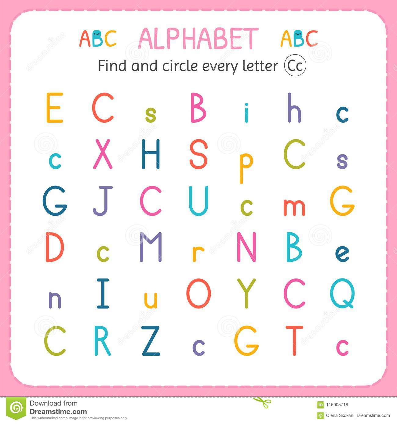 find and circle every letter c worksheet for kindergarten and preschool exercises for children. Black Bedroom Furniture Sets. Home Design Ideas