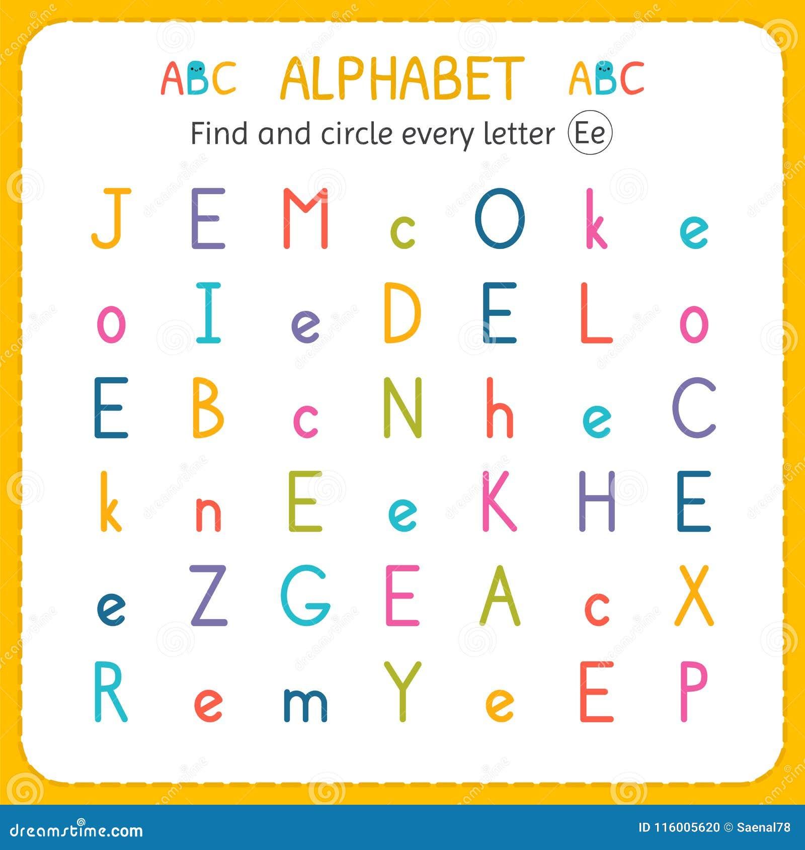 find and circle every letter e worksheet for kindergarten and preschool exercises for children. Black Bedroom Furniture Sets. Home Design Ideas