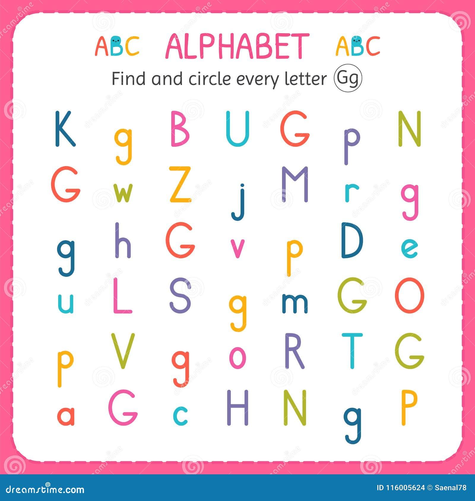 find and circle every letter g worksheet for kindergarten and preschool exercises for children. Black Bedroom Furniture Sets. Home Design Ideas