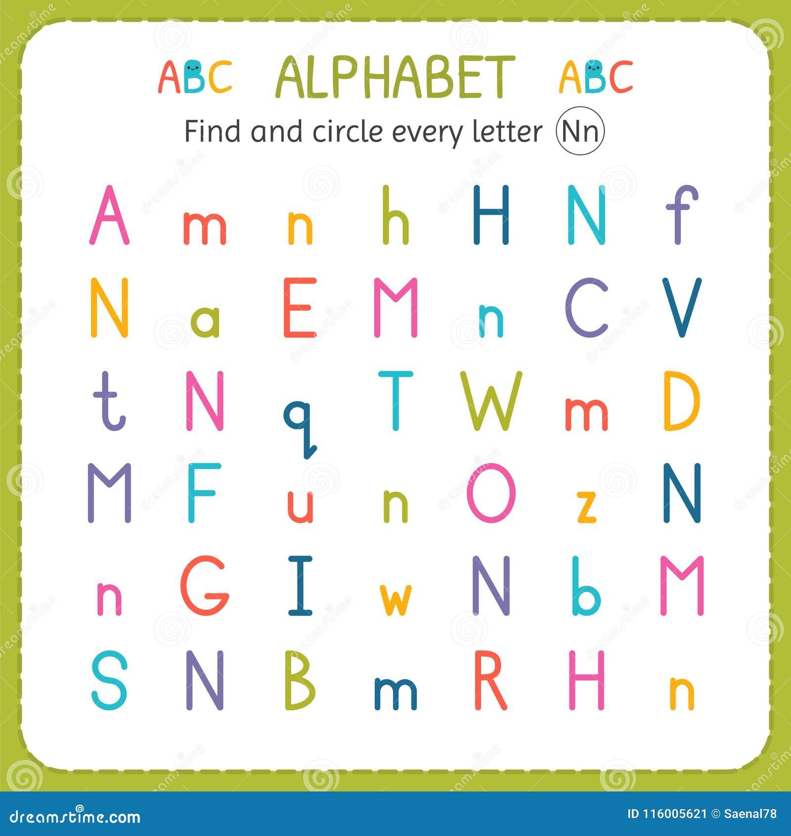 Find And Circle Every Letter N Worksheet For Kindergarten And Preschool Exercises For Children Stock Vector Illustration Of Homework Learn 116005621 - 33+ Free Letter N Worksheets For Kindergarten Gif
