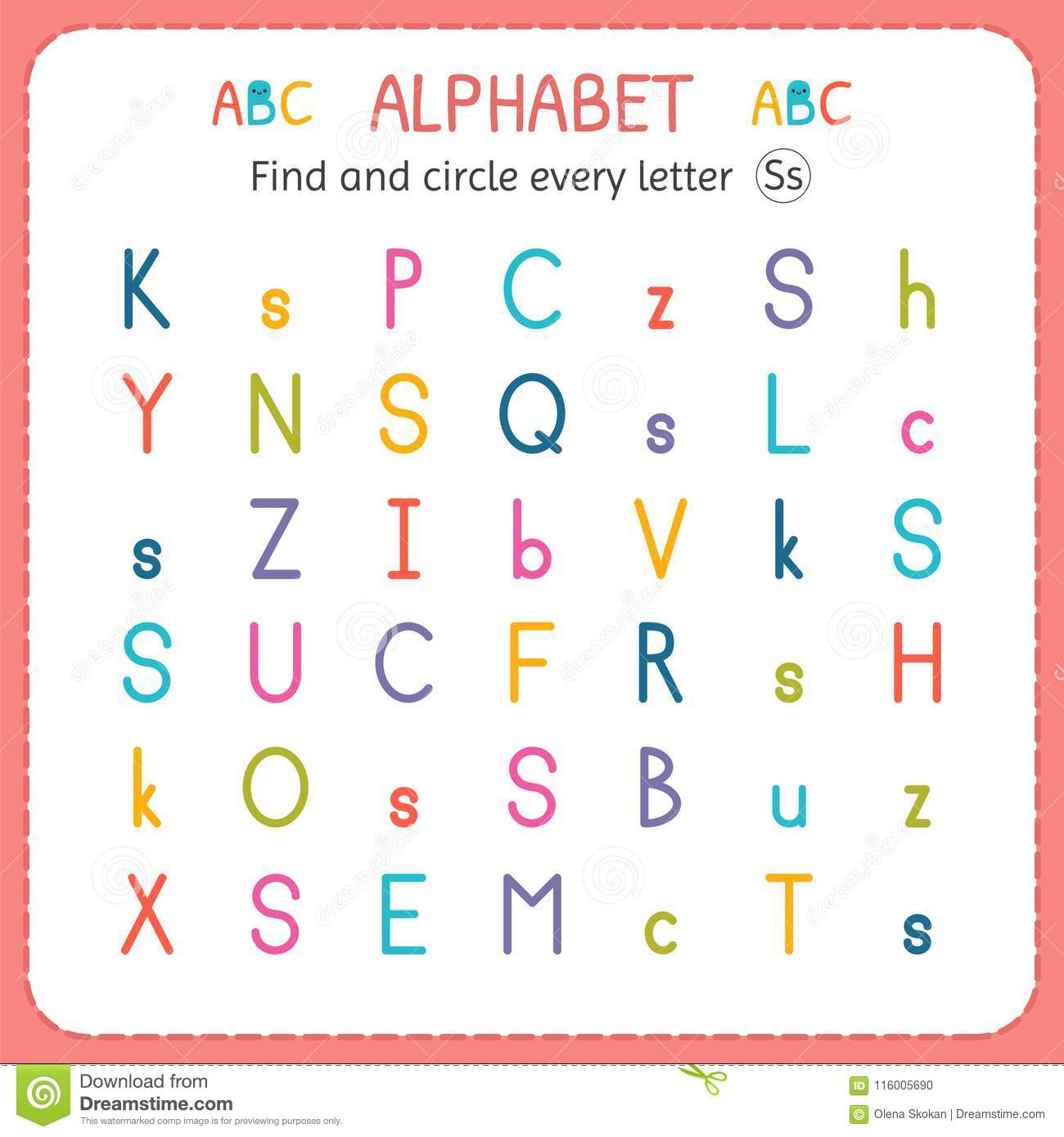 Find And Circle Every Letter S. Worksheet For Kindergarten And