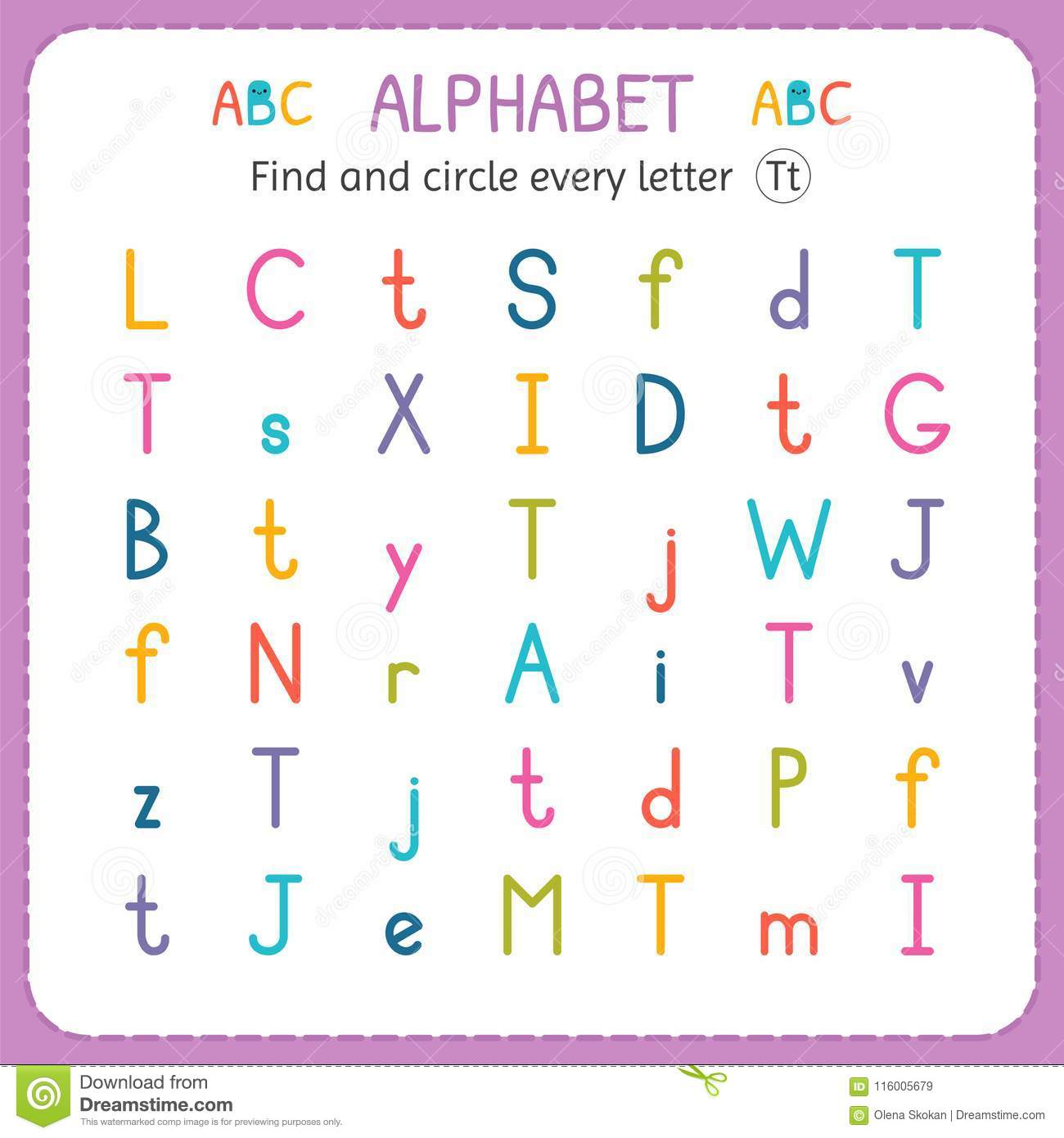 find and circle every letter t worksheet for kindergarten and  find and circle every letter t worksheet for kindergarten and preschool  exercises for children