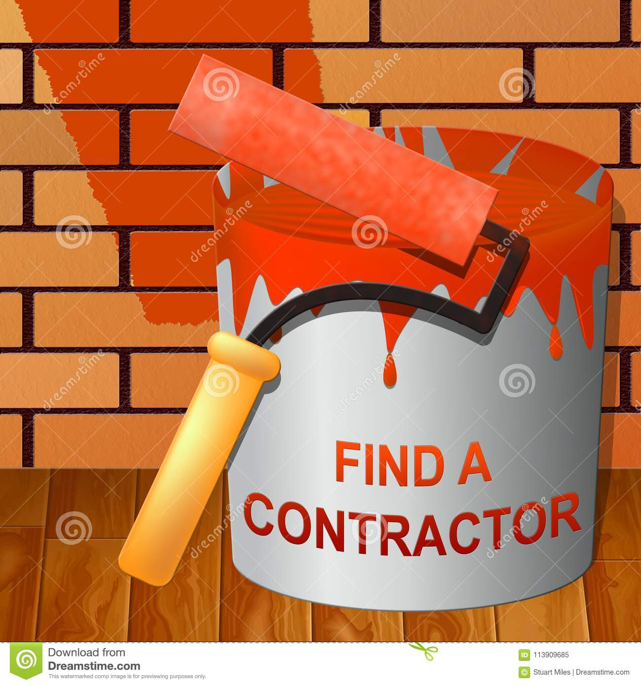 Find A Contractor >> Find A Contractor Showing Finding Builder 3d Illustration