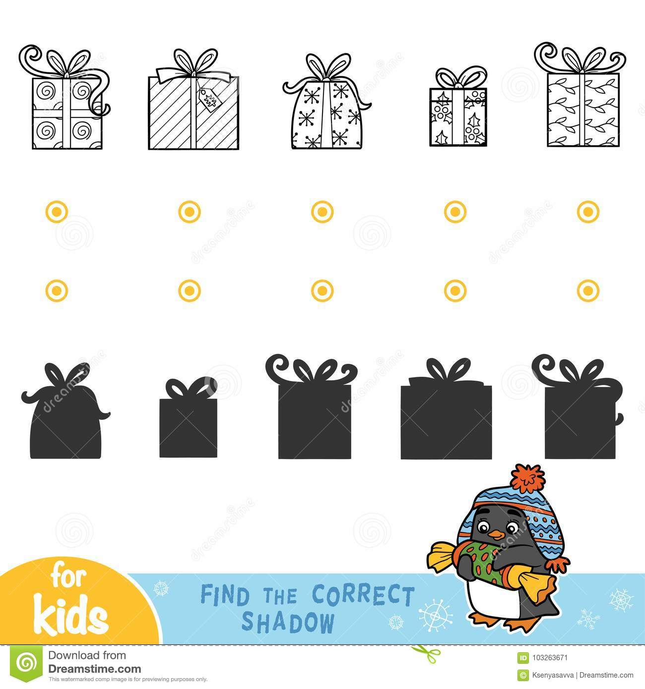 Find The Correct Shadow. Black And White Christmas Gifts. Stock ...