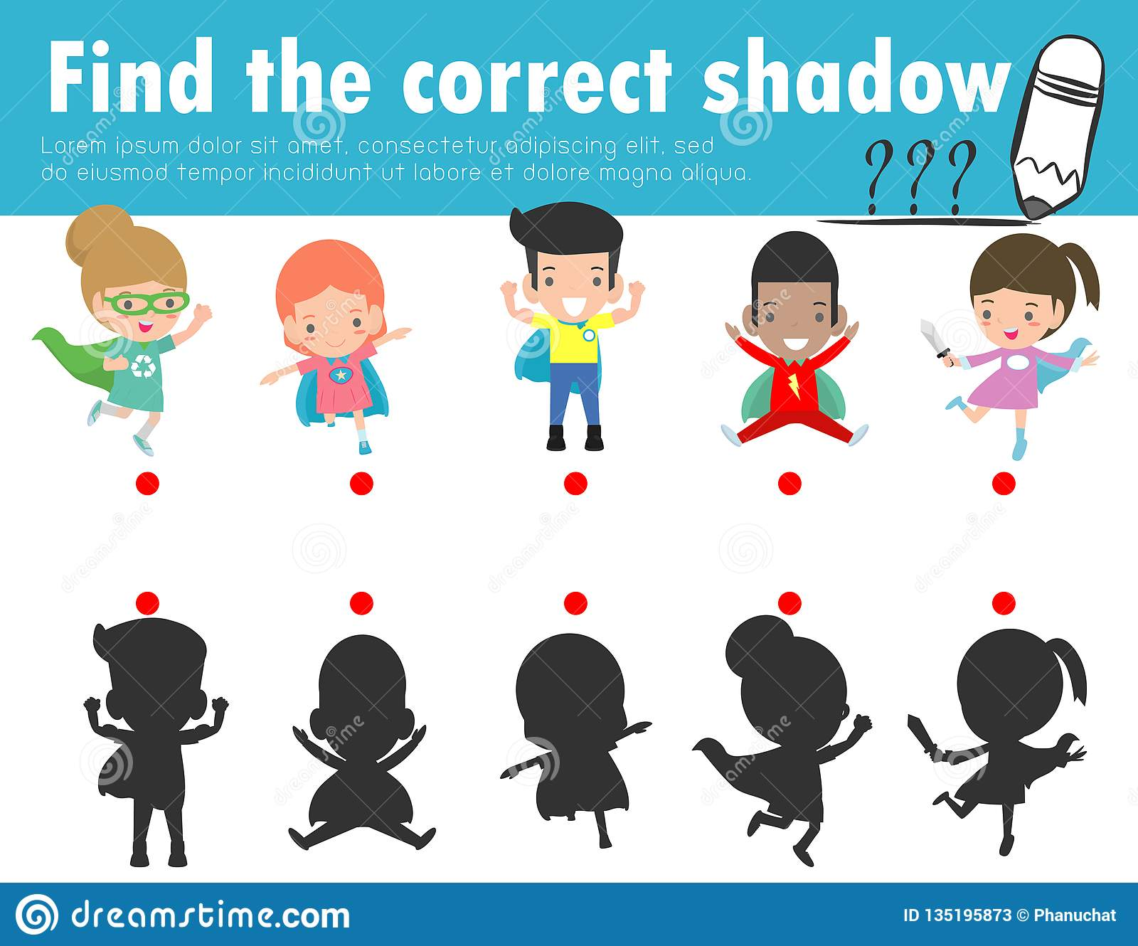 Find The Correct Shadow Educational Game For Children Shadow