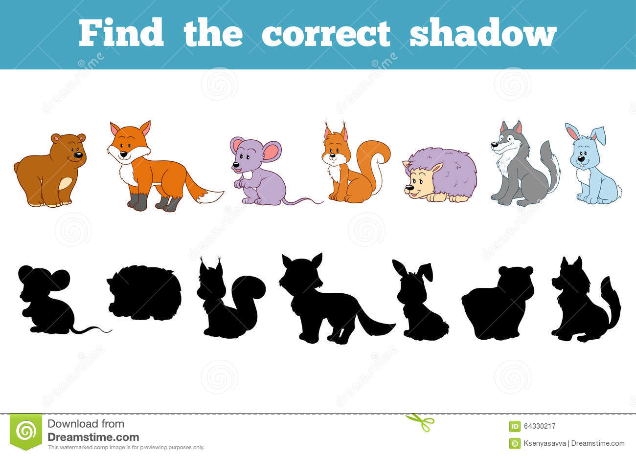 Find the correct shadow education game for children forest animals