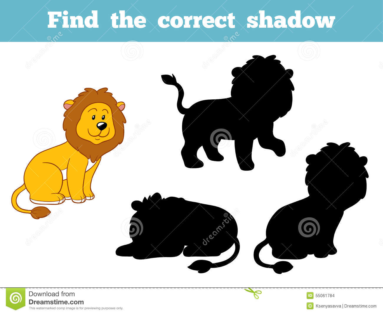find the correct shadow  lion  stock vector