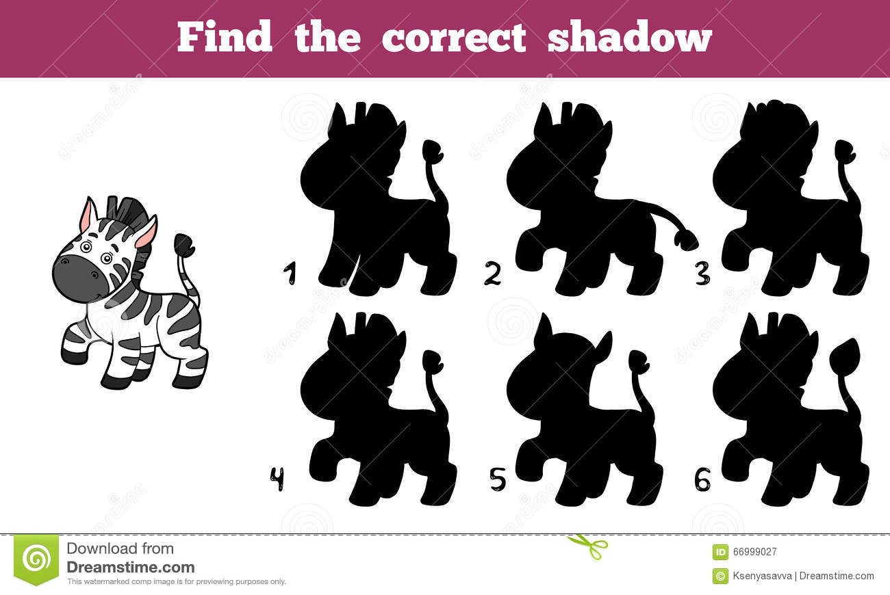 Find the correct shadow, education game for children (zebra).