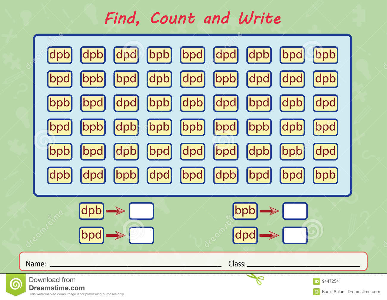 Find, Count And Write, Worksheet For Kids Stock Illustration ...