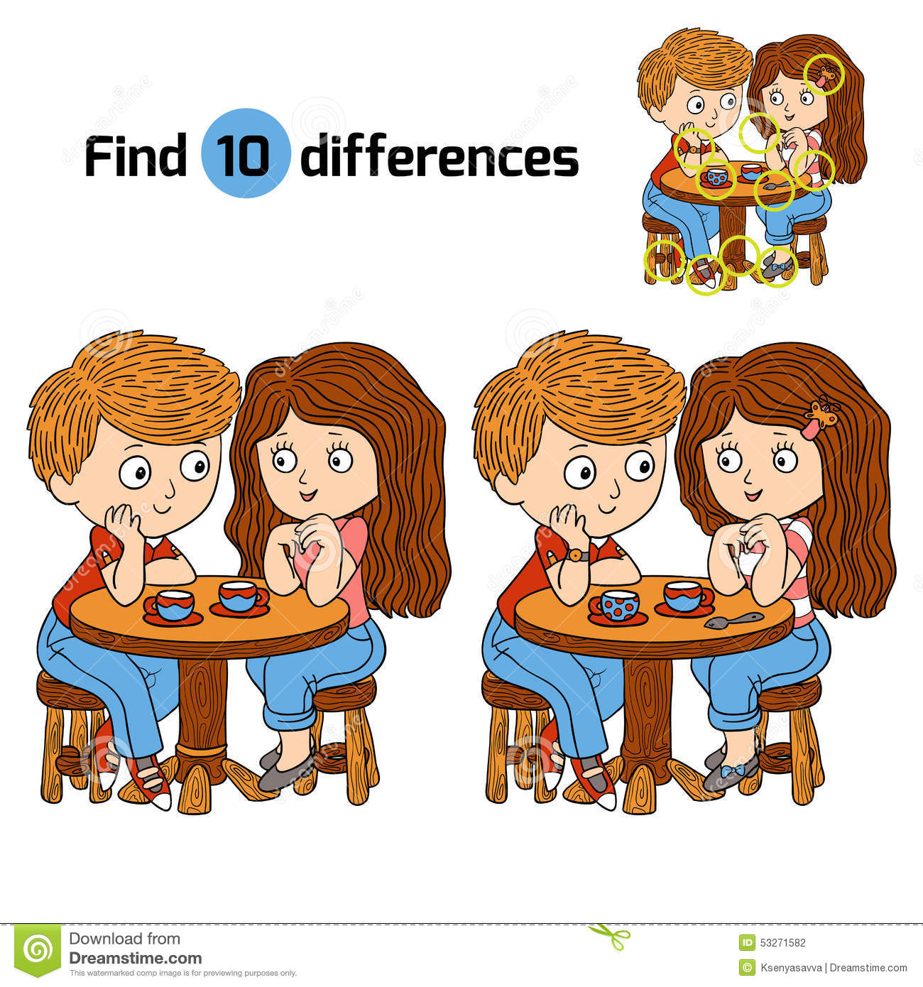 find differences boy and girl stock vector illustration of
