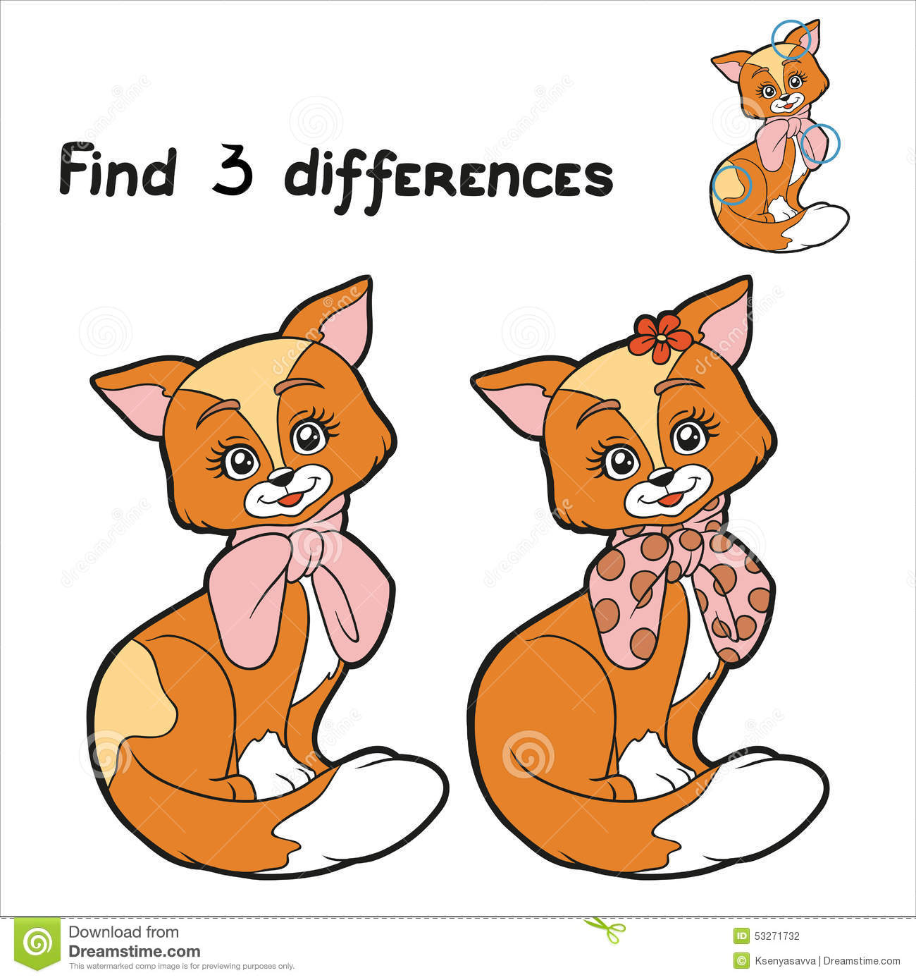 Find 3 differences (cat) stock vector  Illustration of