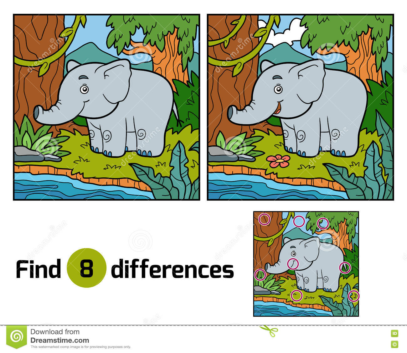 Find Differences For Children, Elephant And Background Stock Vector ...