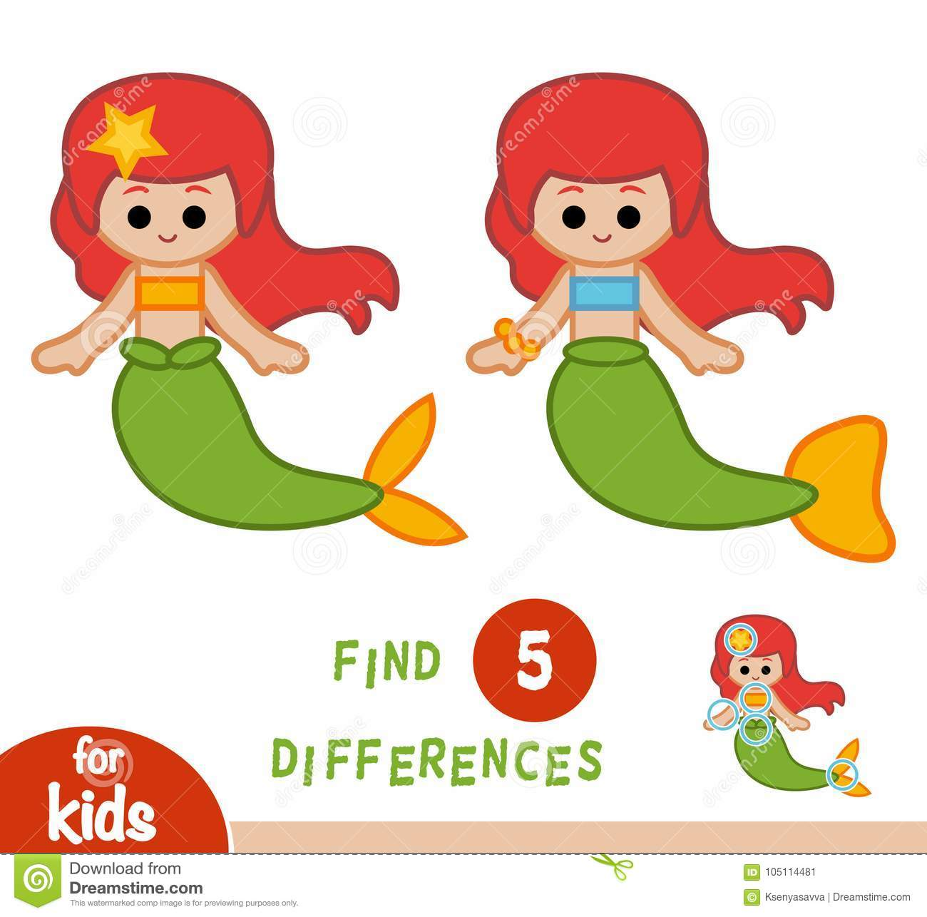 photo about Find the Differences Printable identified as Identify Variations, Education and learning Video game, Mermaid Inventory Vector