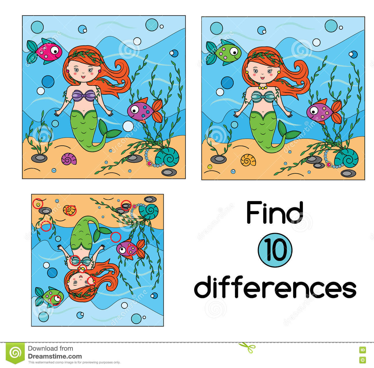 find the differences educational children game kids activity sheet stock vector - Kids Activity Sheet