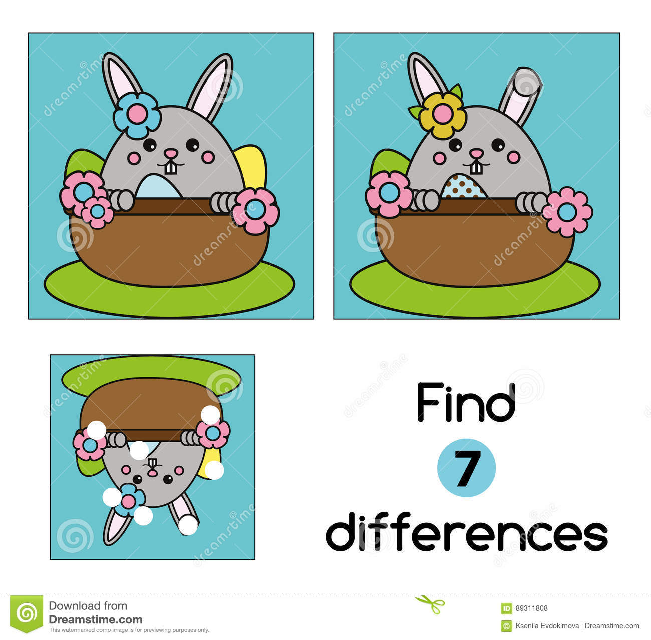 Find The Differences Educational Children Game. Kids Activity Sheet ...