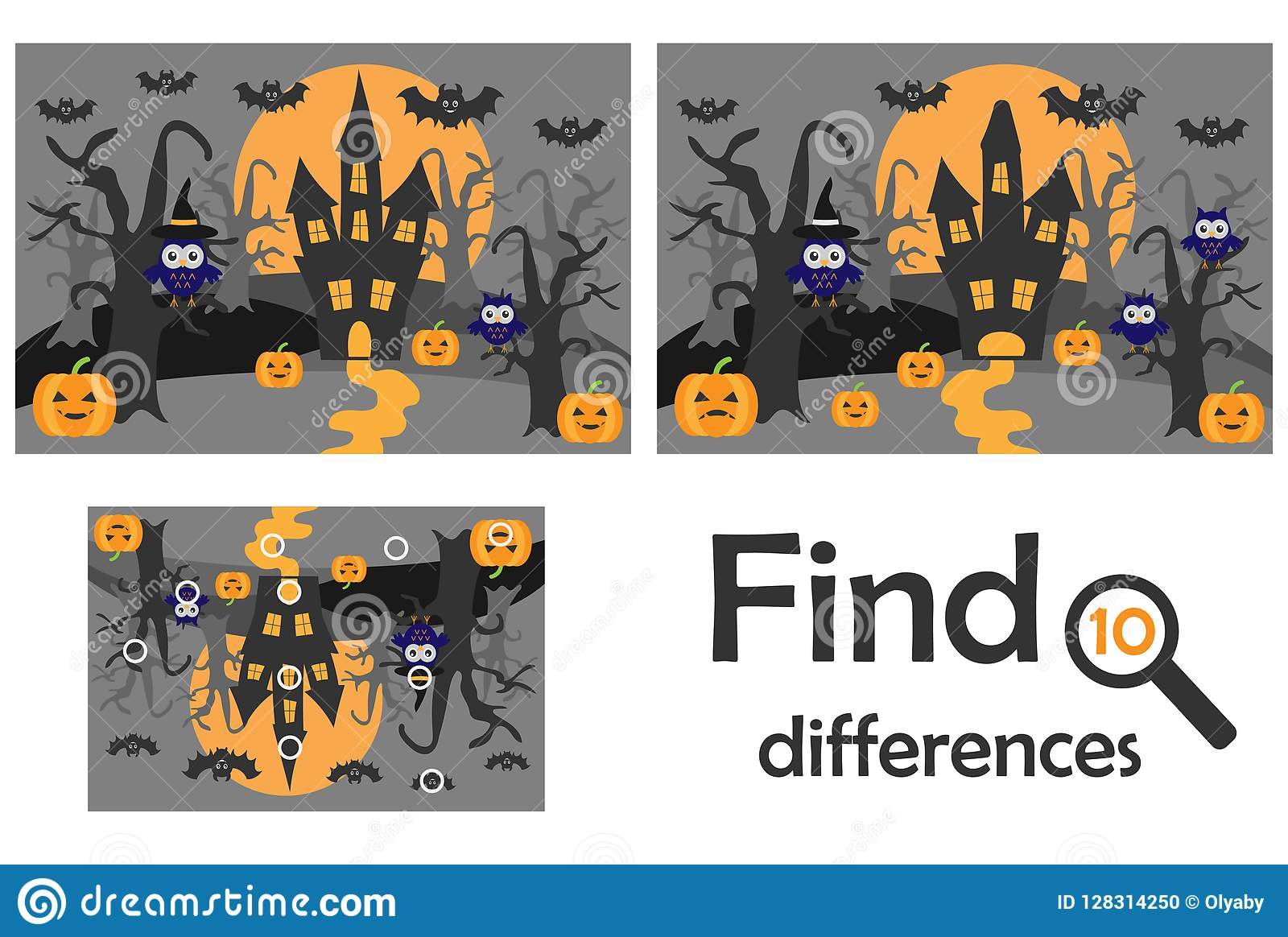 Find 10 differences, game for children, halloween in cartoon style, education game for kids, preschool worksheet activity, task fo