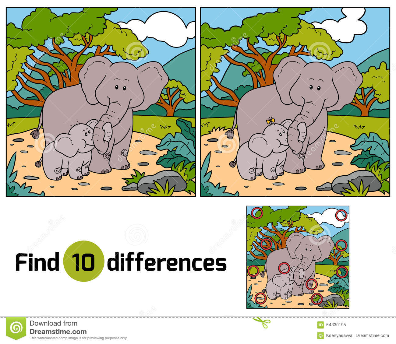 Find: Find Differences, Game For Children (two Elephants) Stock