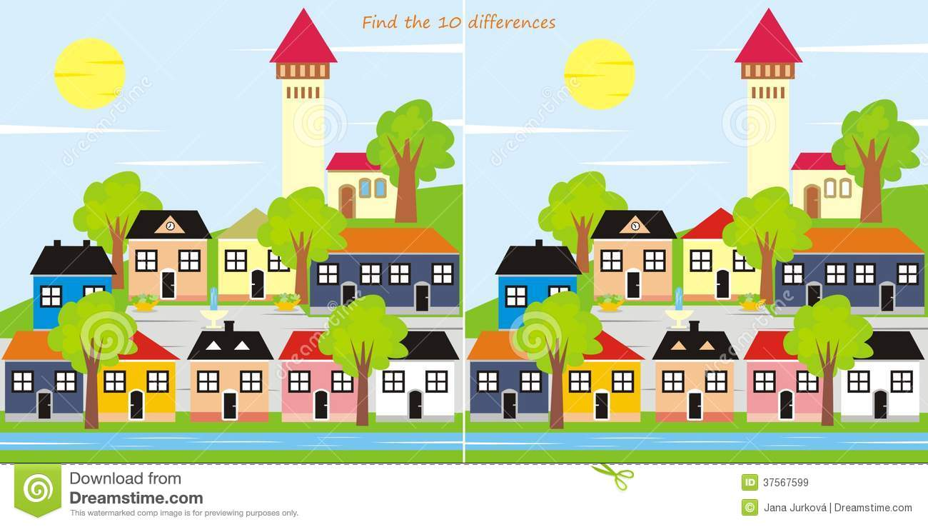 find differences town game kids search pictures city 37567599