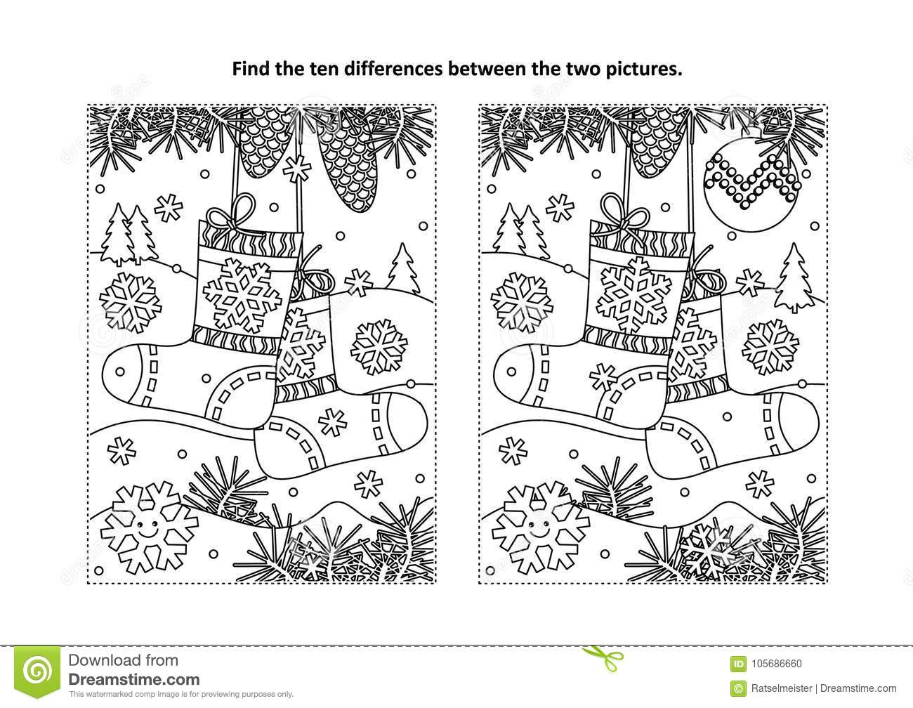 find it coloring pages | Find The Differences Visual Puzzle And Coloring Page With ...