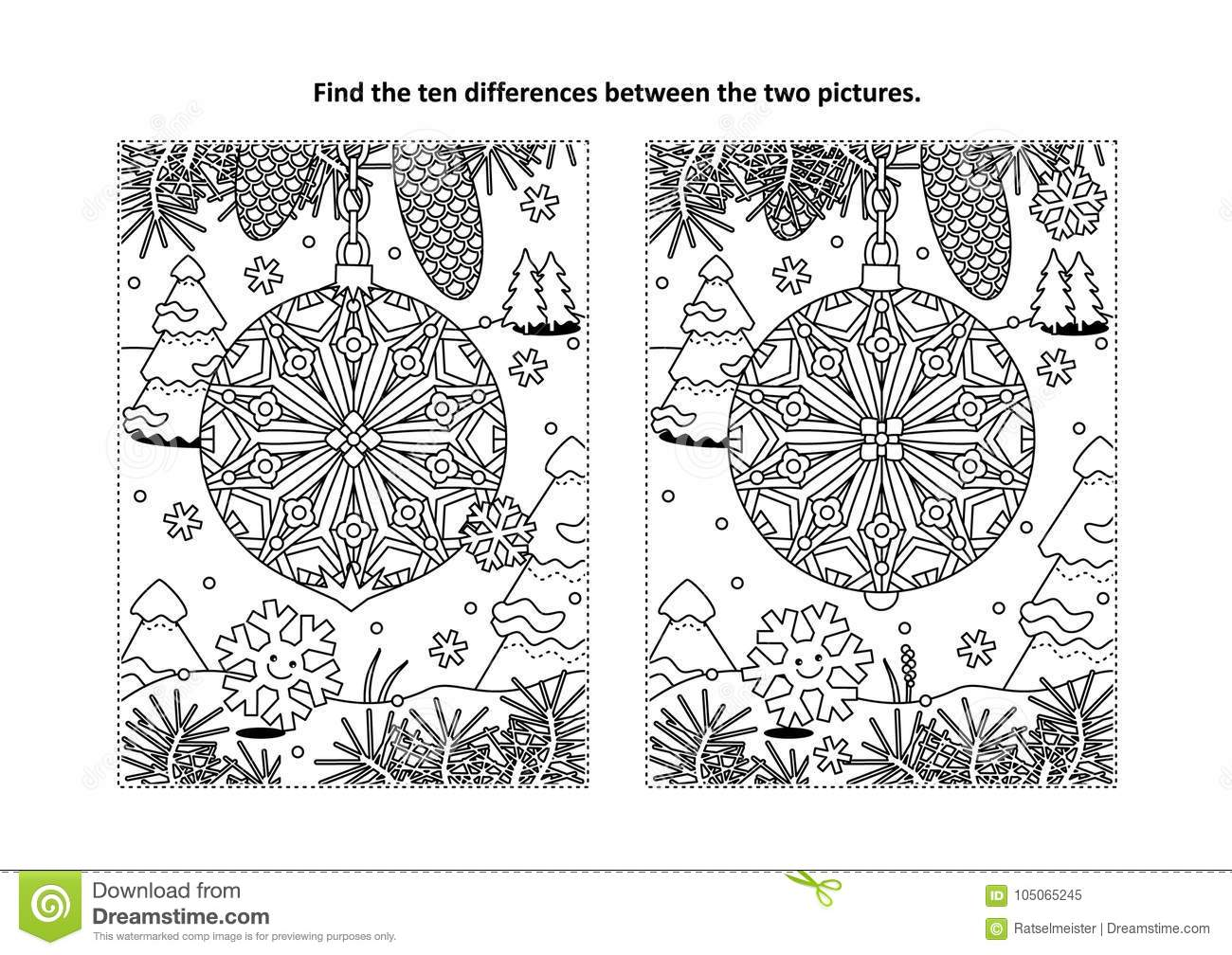 Find The Differences Visual Puzzle And Coloring Page With Christmas ...