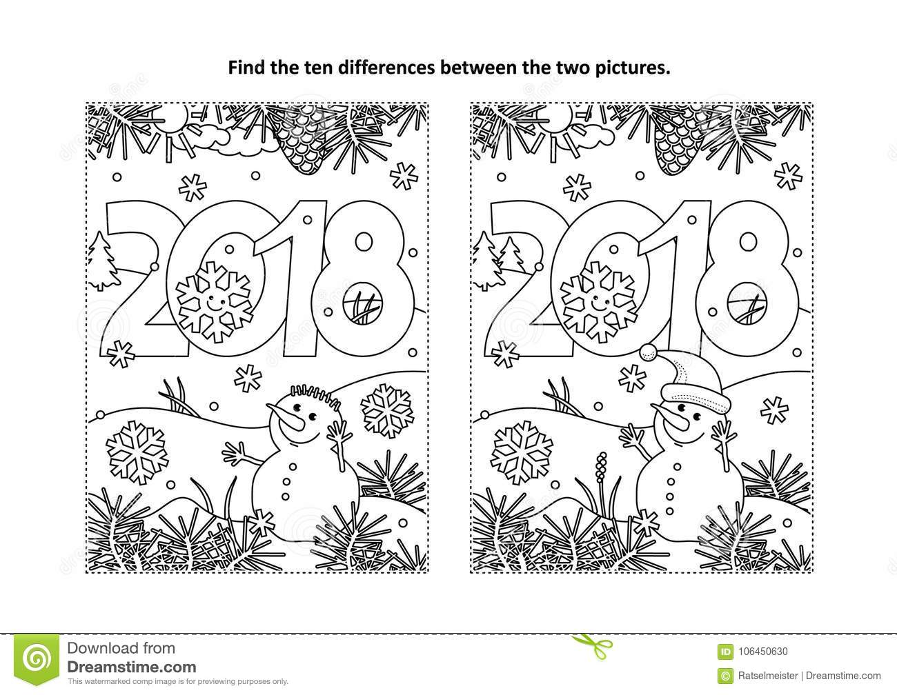 find the differences visual puzzle and coloring page with new year  on Coloring Puzzle Pages 2018