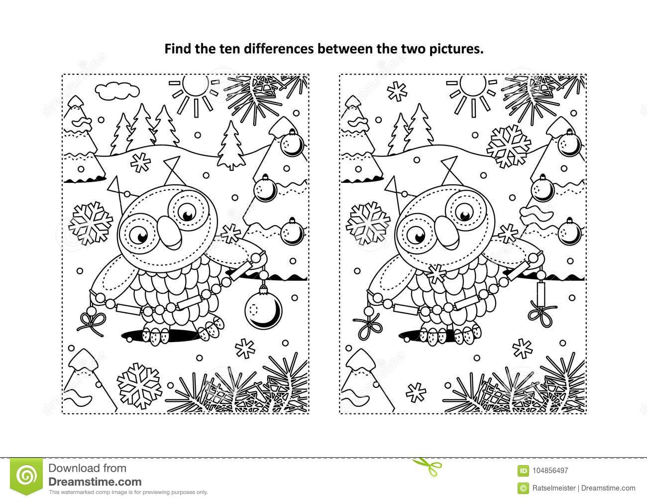 Winter Holidays New Year Or Christmas Themed Find The Ten Differences Picture Puzzle And Coloring Page With Owl Holding Glass Beads Garland For Trimming
