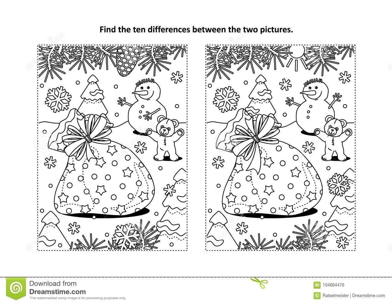 find the differences visual puzzle and coloring page with santas sack