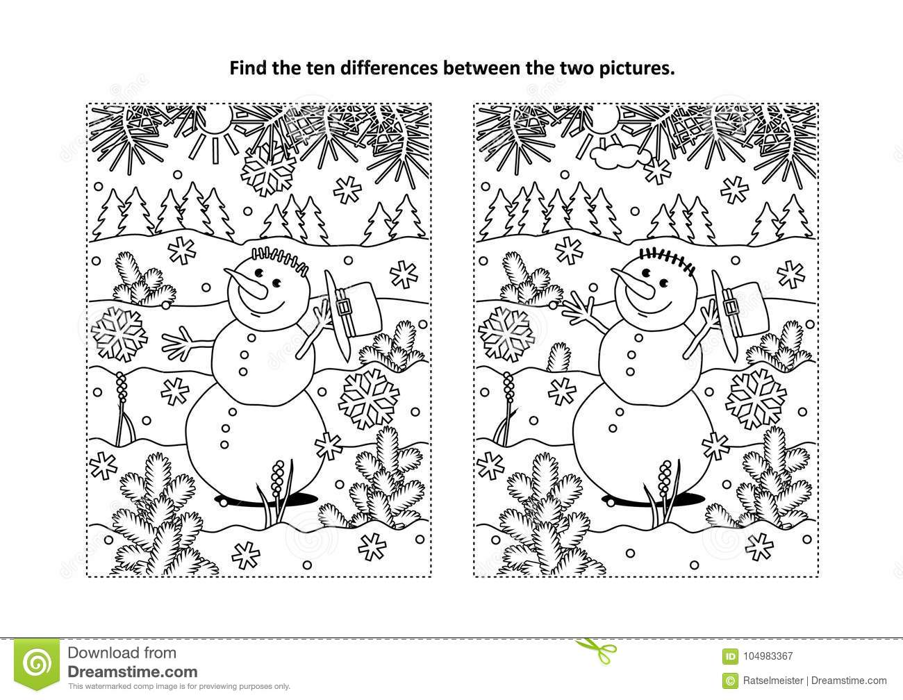 Find The Differences Visual Puzzle And Coloring Page With Snowman Stock Vector Illustration Of Themed Snowman 104983367