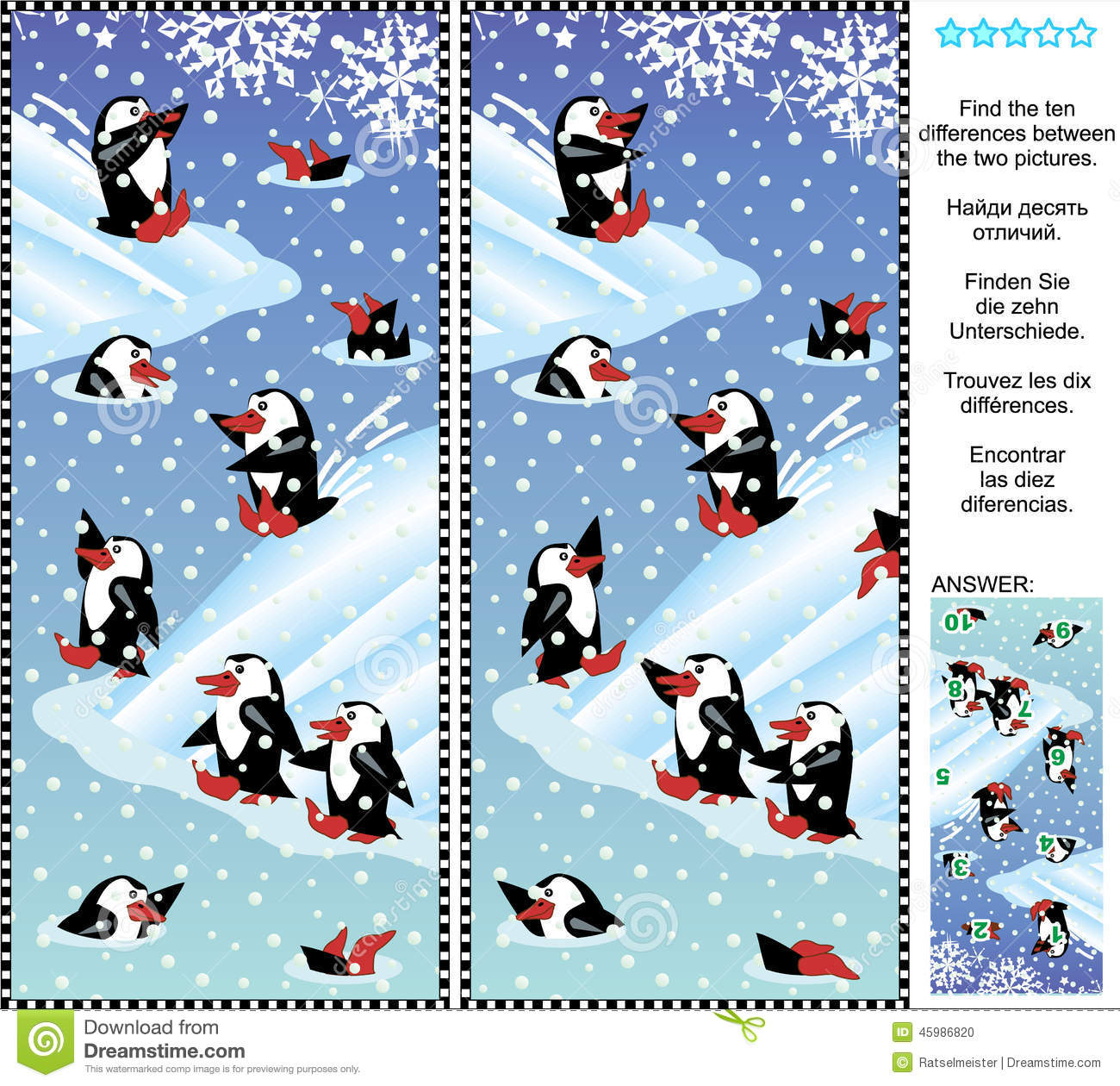 Find The Differences Visual Puzzle - Playful Penguins Stock Vector ...