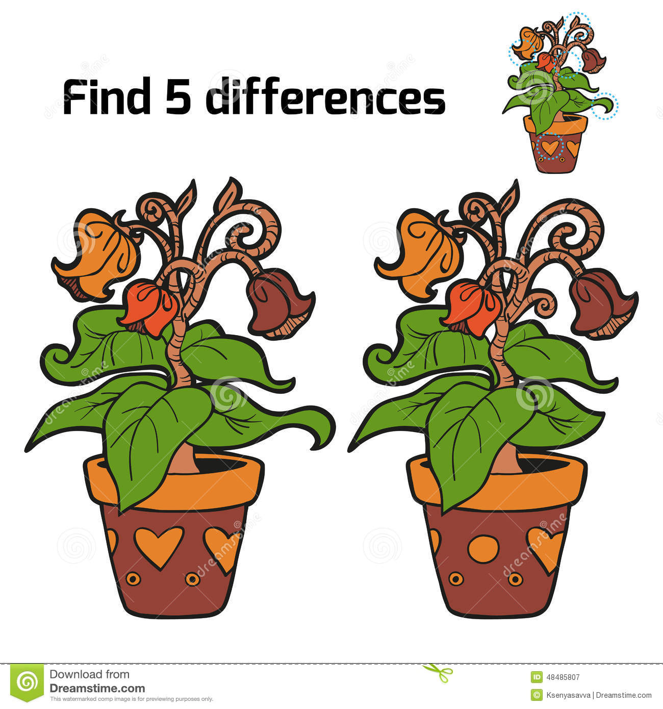 Find: Find Five Differences (flowers) Stock Vector