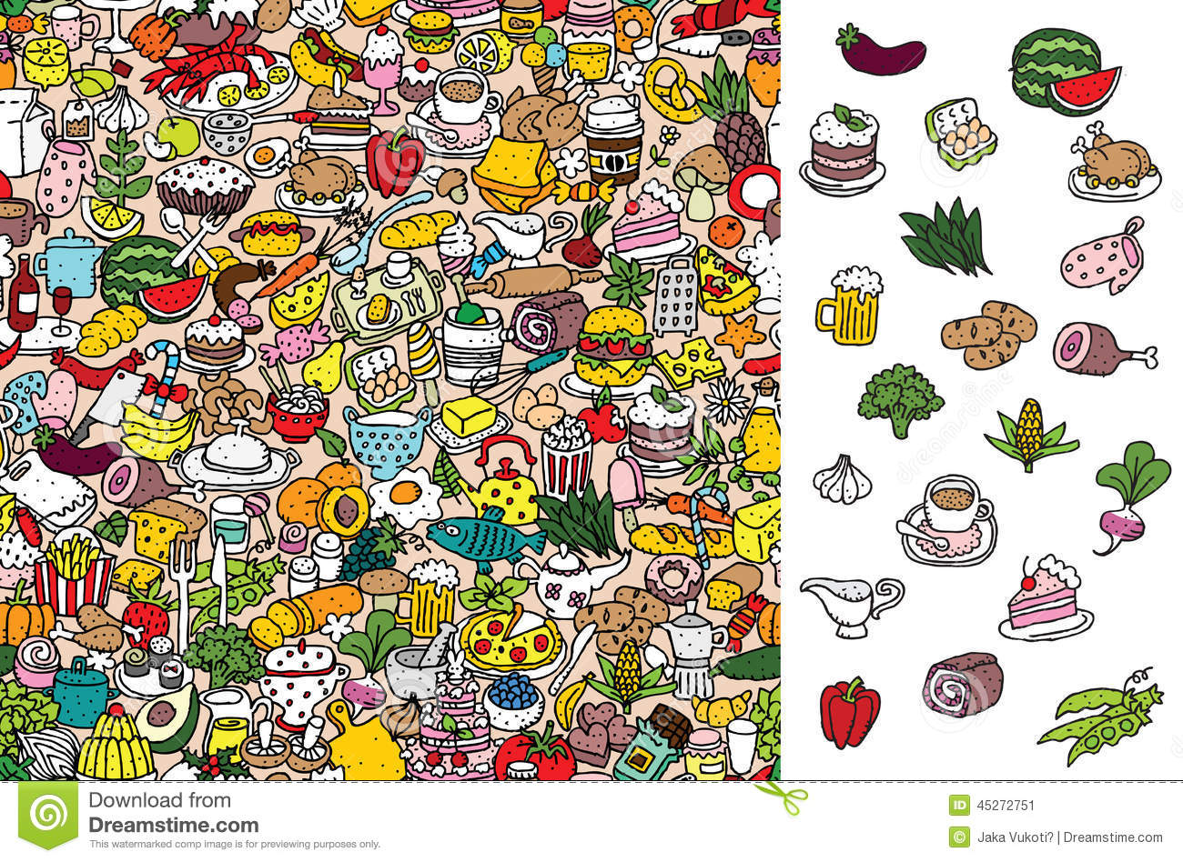 Find Food Visual Game Solution In Hidden Layer Stock Vector
