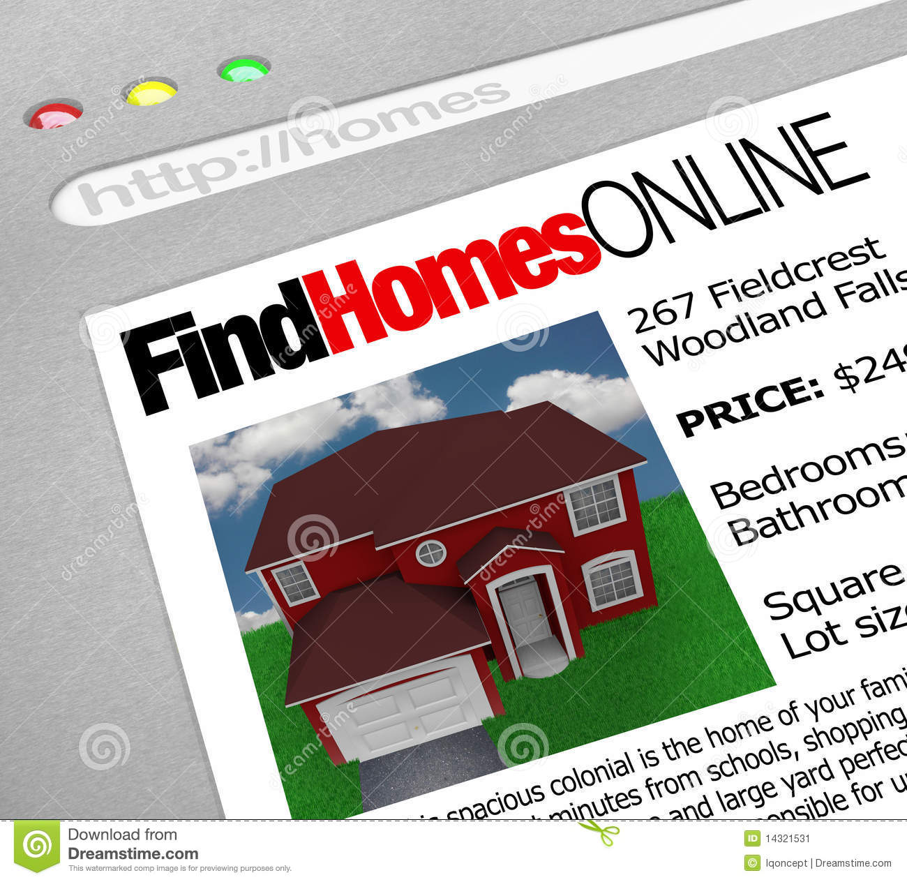 Find Homes Online Web Screen Stock Image Image 14321531
