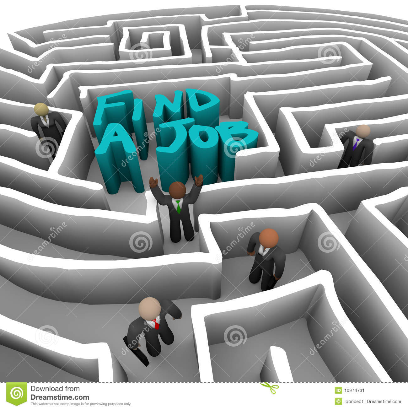 Friendly Find For Your Job Search: Business People In Maze Stock Image
