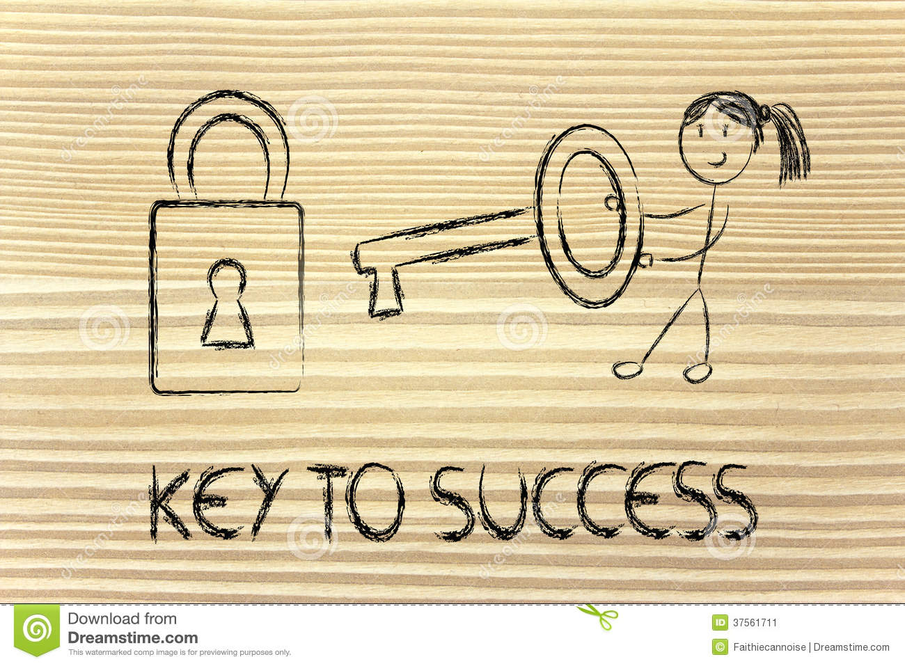 Find The Key To Success, Funny Girl Character Being Successful ...