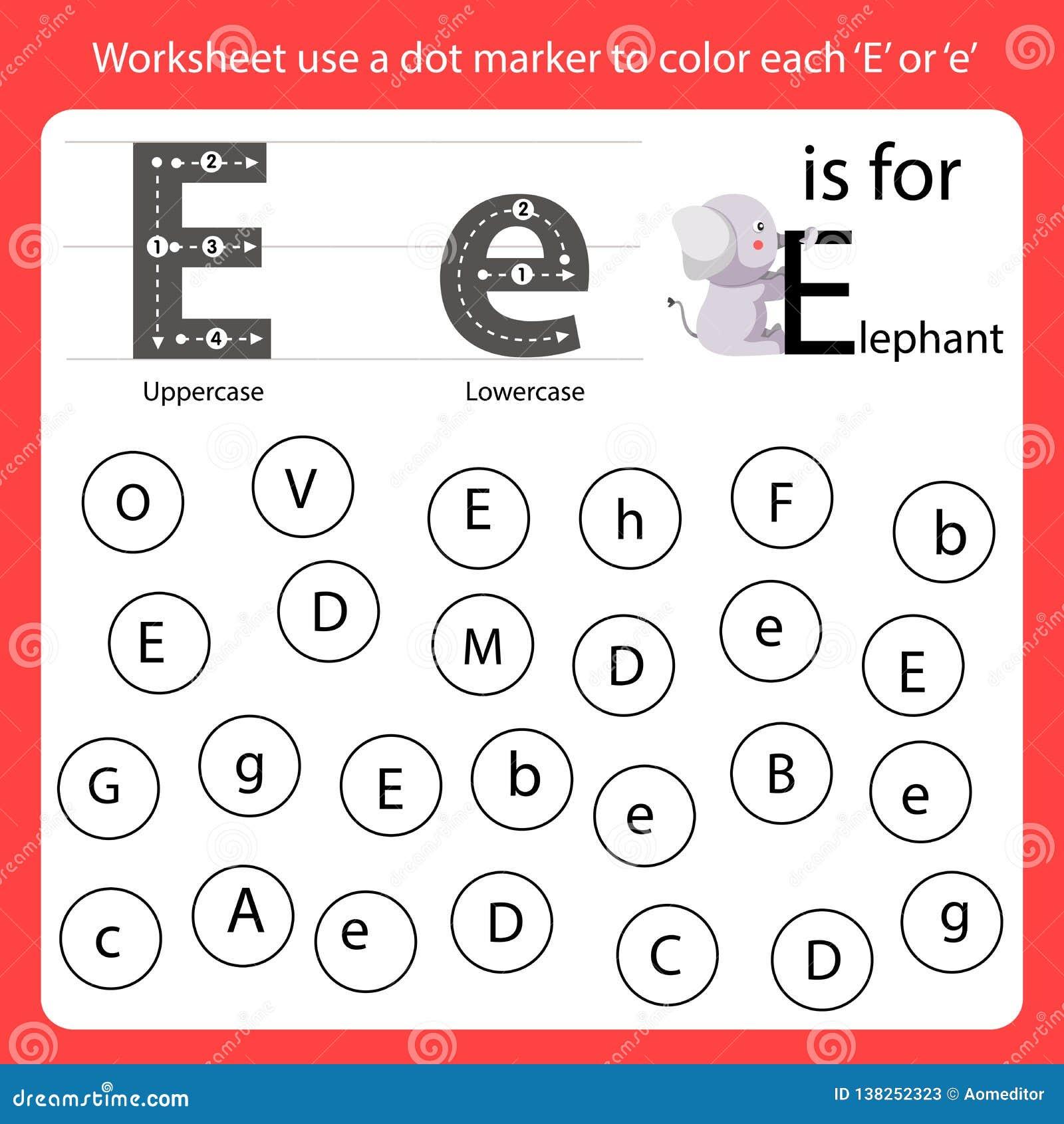 find the letter worksheet use a dot marker to color each e. Black Bedroom Furniture Sets. Home Design Ideas