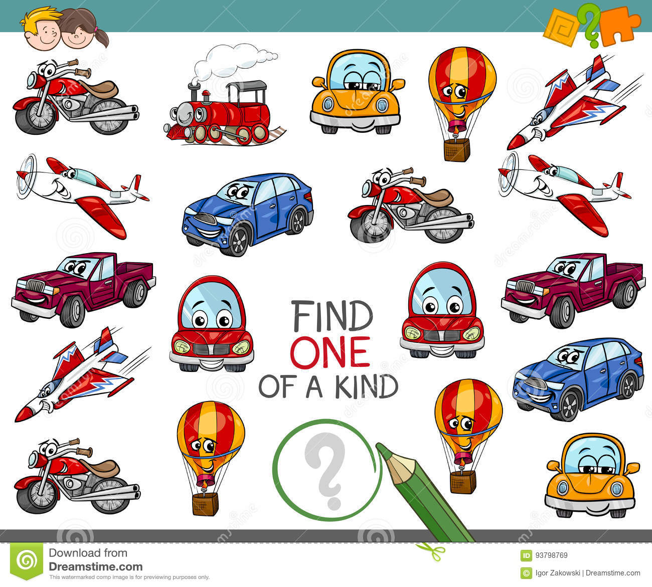 Find One Of A Kind Activity Stock Vector Illustration Of Multiple