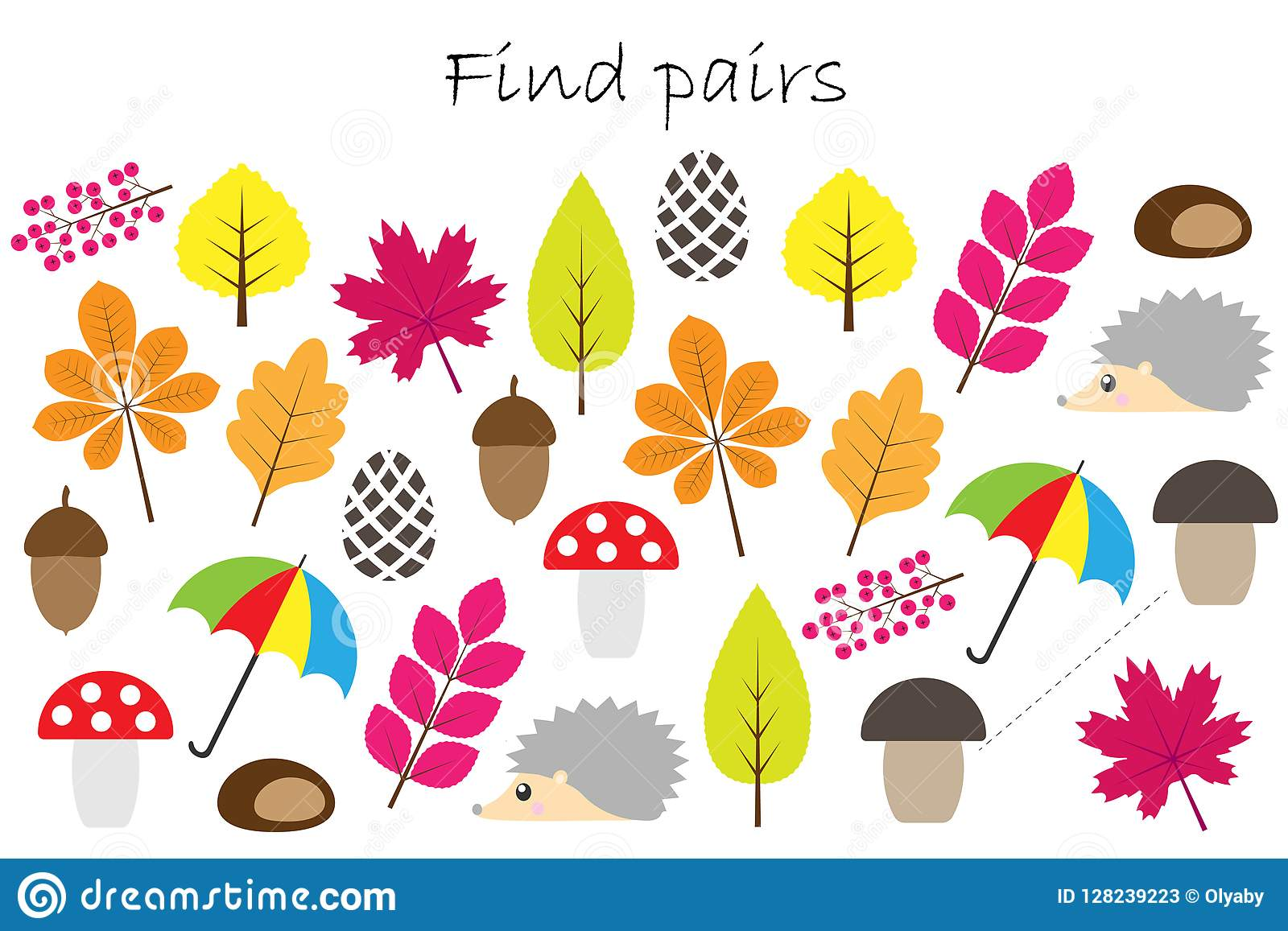find pairs of identical pictures fun education game with autumn