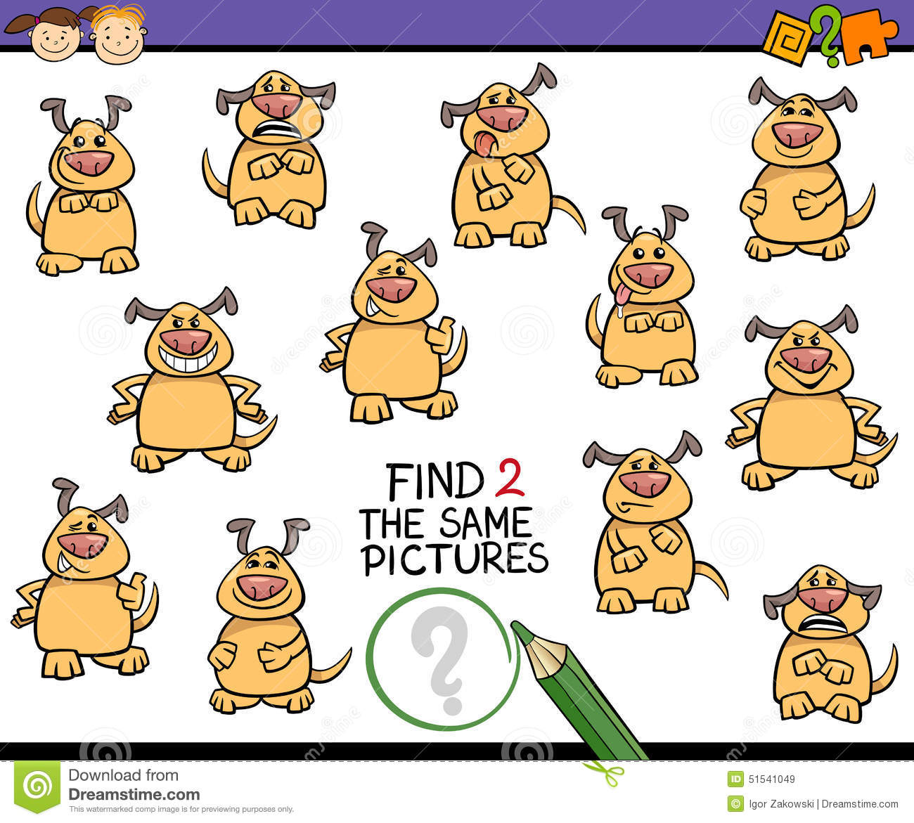 Find: Find Same Picture Game Cartoon Stock Vector