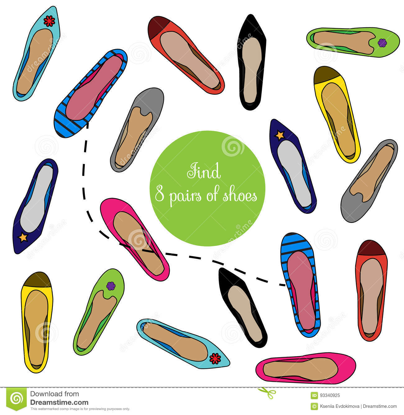 118c59365440 Find the same pictures children educational game. Find pairs of shoes shoes  kids activity