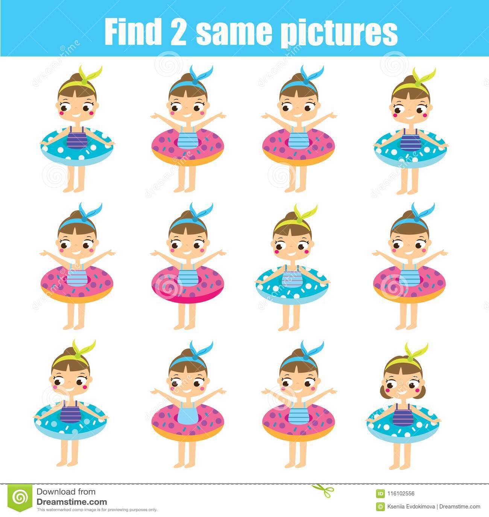 Find the same pictures children educational game. Find same summer girls