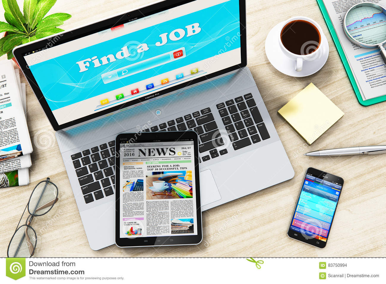 find or seek a job in internet on laptop stock illustration find or seek a job in internet on laptop
