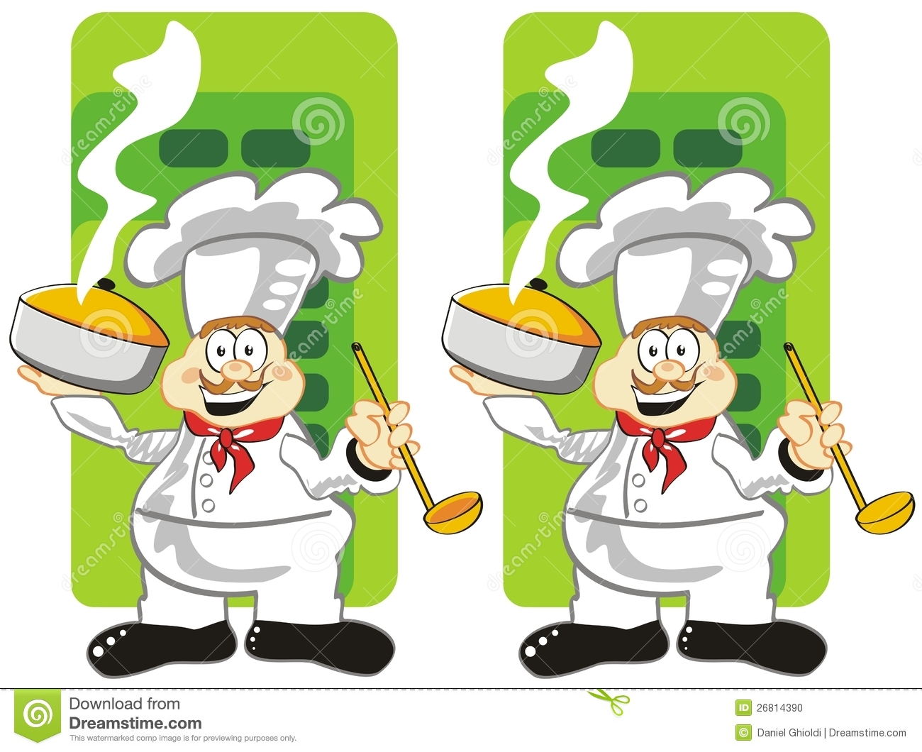 Game for children's: spot the 7 differences between these two cooks.