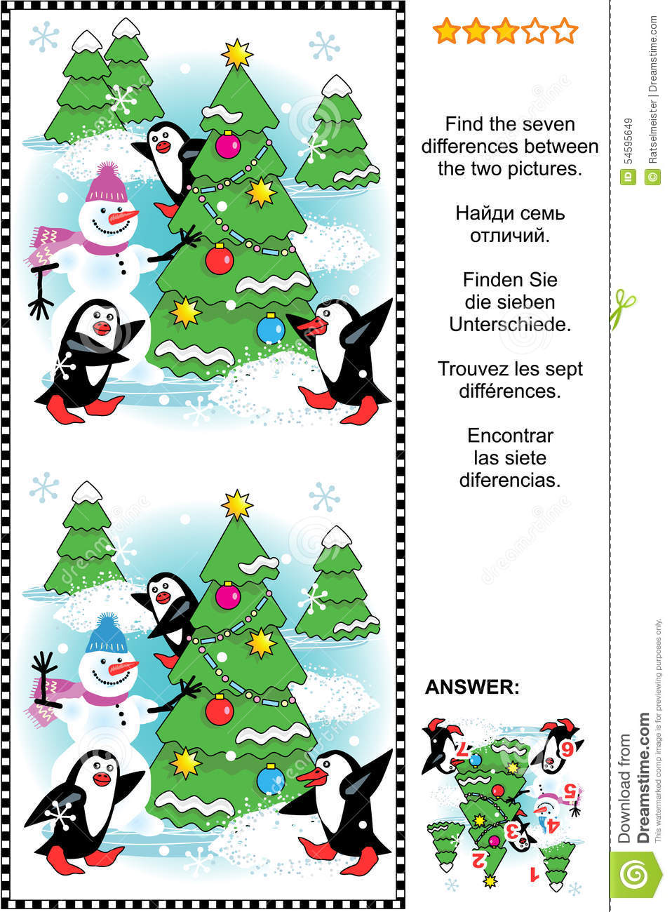 Find The Seven Differences Christmas Or New Year Visual Puzzle Stock ...